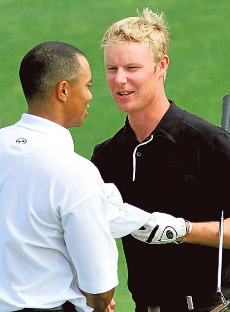Mikko Ilonen pelasi Tiger Woodsin kanssa US Mastersissa 2001.