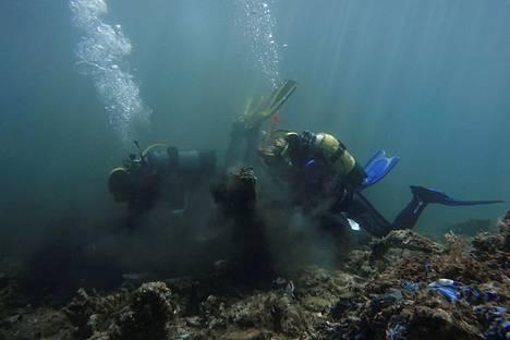 Joukko vapaahehtoisia sukeltajia keräsi muoviroskaa meren pohjasta Ándroksen saaren ympäriltä heinäkuun puolivälissä.
