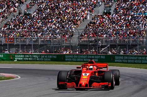 Ferrarin Sebastian Vettel sijoittui vuosi sitten Montrealin kisassa toiseksi.