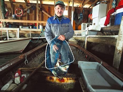 Degerbyläinen Lennart Gustavsson on harrastanut kalastusta koko ikänsä. Saaliiksi saadut ahvenet hän myy kalatehtaalle parin euron kilohintaan.