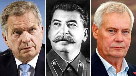 Tasavallan presidentti Sauli Niinistö, Neuvostoliiton johtaja Josif Stalin ja Suomen pääministeri Antti Rinne.
