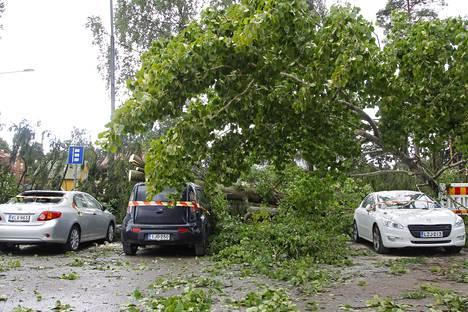 Puiden läheisyyteen ei kannata nyt jättää autoaan. Kuva Kiira-myrskyn tuhoista Oulunkylän urheilupuiston parkkipaikalla elokuussa 2017.