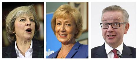 Britannian konservatiivipuolueen ehdokkaiksi jäivät Michael Goven (oik.) pudottua Theresa May (vas.) ja Andrea Leadsom.