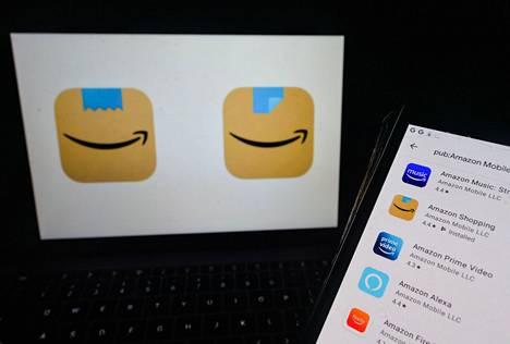 """Amazonin sovelluksen kuvake muuttui kaksi kertaa lyhyen ajan sisään. Tammikuussa lanseerattu """"viiksikuvake""""on vasemmalla."""