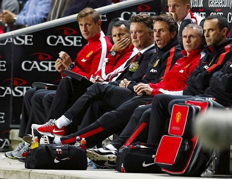 Manchester Unitedin valmennusjohto seurasi shokkitappiota hiljaisena.