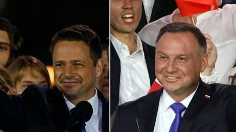 Vasemmalla Kansalaisfoorumin ehdokas Rafal Trzaskowski ja oikealla Laki ja Oikeus puolueen Andrzej Duda.