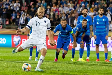Pukki's penalty kick decided the European Championship qualifier against Greece in September 2019 in Tampere.