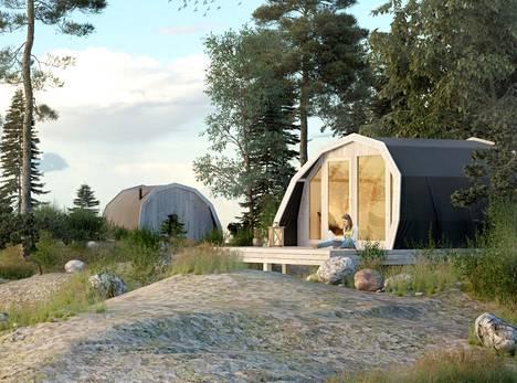 Havainnekuva Nuuksioon tulevista teltoista.