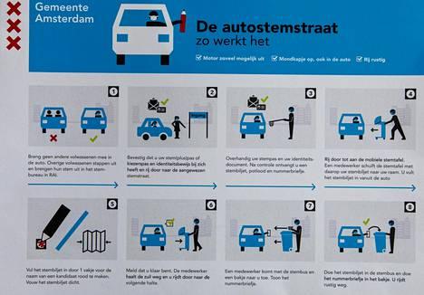 Hollannin parlamenttivaaleissa autoilija saa omat ohjeet autoäänestämiseen. Autossa pitää olla yksin, henkilöpaperit pitää luovuttaa haaviin.