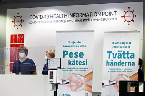 Terveysinfopiste Helsinki-Vantaan lentoasemalla.