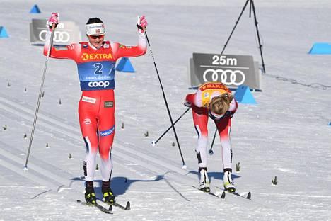 Ingvild Flugstad Østberg (vas.) voitti Therese Johaugin.