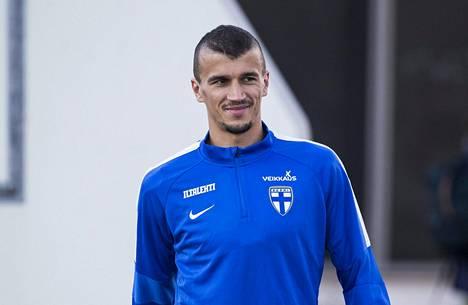 Roman Eremenko Suomen maajoukkueen harjoituksissa lokakuussa 2016.
