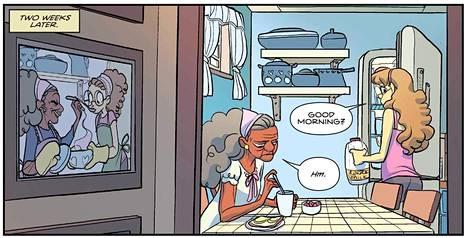Giant Days -sarjakuva palkittiin viikonloppuna Yhdysvalloissa Eisner-palkinnoilla. Giant Days -kirjan numero 10 kuvitusta.