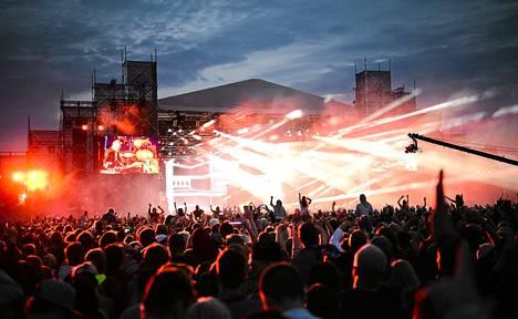 David Guetta järjesti valoshown Weekend Festivalilla vuonna 2013.