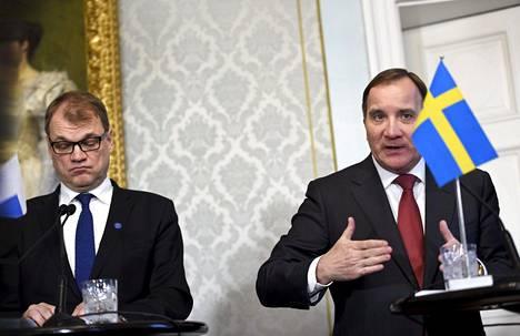 Kun Suomen pääministeri Juha Sipilä (vas.) ja Ruotsin pääministeri Stefan Löfven tapaavat, heillä on yleensä tapana kiitellä maiden hyviä välejä.