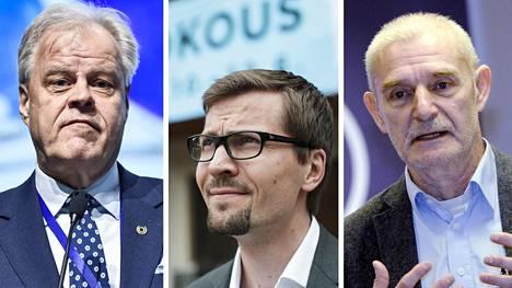 Olli Luukkainen (vas.), Niilo Mustonen ja Ralf Sund kommentoivat hallitusohjelman syntyprosessia.