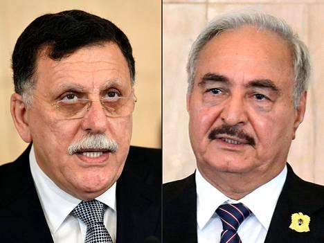 Libyan GNA-hallituksen Fayez al-Sarraj ja Khalifa Haftar, jonka joukot tukevat Itä-Libyan erillishallintoa.
