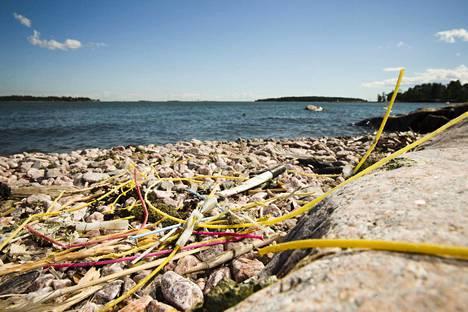 Muoviletkuja Lauttasaareen rannassa viime viikolla.