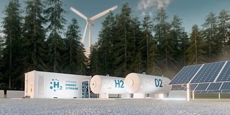 Havainnekuva P2X Solutionsin suunnittelemasta vihreän vedyn tuotantolaitoksesta.