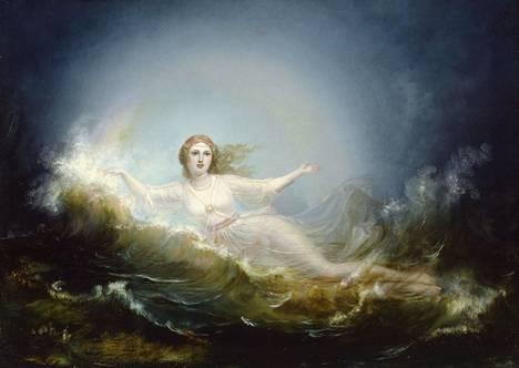 Kalevalassa sotka teki pesän Ilmattaren polvelle. Taivaan neito Ilmatar Robert Wilhelm Ekmanin maalauksessa vuodelta 1860.