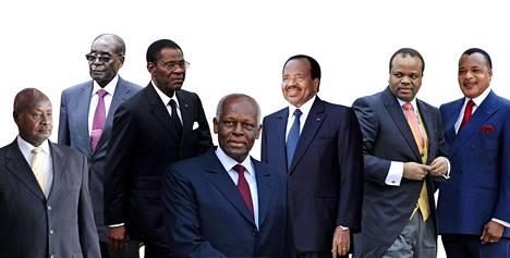 Yoweri Museveni (vas.), Robert Mugabe, Teodoro Obiang, José Eduardo Dos Santos, Paul Biya, Mswati III ja Denis Sassou Nguesso.