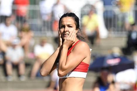 Maria Huntington seitsenottelun keihäässä Kalevan kisoissa Turussa 16. elokuuta 2020.