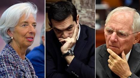 IMF:n pääjohtaja Christine Lagarde, Kreikan pääministeri ALexis Tsipras ja Saksan valtiovarainministeri Wolfgang Schäuble.
