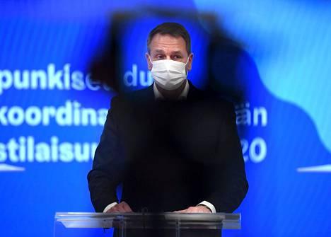 Helsingin pormestari Jan Vapaavuori (kok) kertoi pääkaupunkiseudun koronavirustoimista 27. marraskuuta.