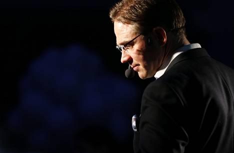 Jyrki Katainen ilmoitti eroaikeistaan kokoomuksen eurovaalitilaisuudessa Radisson Blu Plaza -hotellissa Helsingin Mikonkadulla lauantaina.