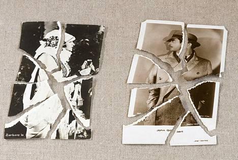 Eräästä erosta jäi muistoksi kaksi kuvakorttia mykkäelokuvien ajan filmitähdistä. Puoliso repi ne palasiksi.