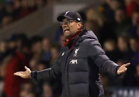 Liverpoolin manageri Jürgen Klopp reagoi sunnuntain cupottelussa.