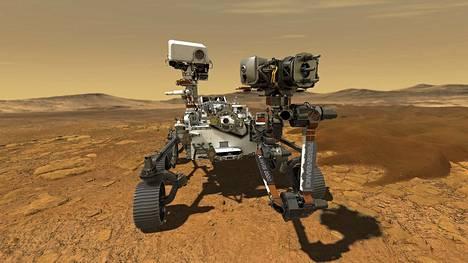 Yhdysvaltalaisen avaruushallinto Nasan tietokonekuva Marsiin lähetetystä mönkijästä.