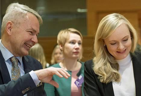 Pekka Haavisto ja Maria Ohisalo vihreiden puoluevaltuuston kokouksessa helmikuussa.