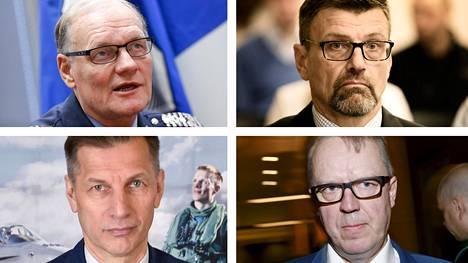 Eläköitynyt poliisiylijohtaja Mikko Paatero, entinen valtakunnansyyttäjä Matti Nissinen, Ilmavoimien komentaja Sampo Eskelinen ja Tullin pääjohtaja Antti Hartikainen.