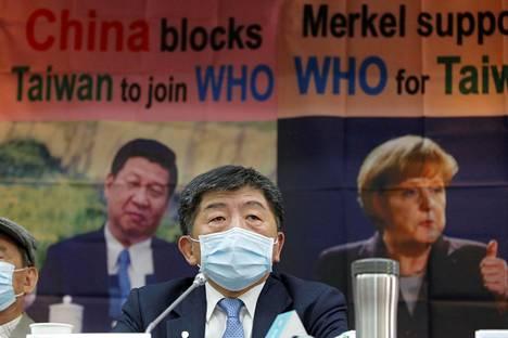 Taiwanin terveysministeri Chen Shih-chung esiintyi maan WHO-tarkkailijajäsenyyshakemusta käsitelleessä lehdistötilaisuudessa Taipeissa 15. toukokuuta.