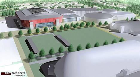 Tapiolaan suunnitellun jalkapallostadionin havainnekuva.