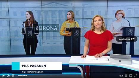 Yleisradion uutislähetykset ovat keränneet miljoonayleisöjä koronapandemian aikana. Ruutukaappaus Yle Areenasta.