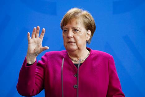Angela Merkel kertoi Saksan toimista keskiviikkona. Tämä arkistokuva on otettu 9. huhtikuuta.