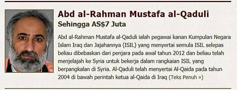 Yhdysvaltojen ulkoministeriö lupaa tuoreimmalla listallaan suurinta palkkiota tiedoista, jotka johtavat Abd al-Rahman Mustafa al-Qadulin jäljille.