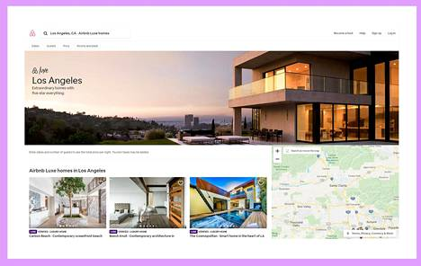 Kyselyn mukaan yhä suurempi osa hyvätuloisista on käyttänyt matkustaessaan uudenlaisia majoituspalveluita. Kuvakaappaus Airbnb Luxe -palvelusta.