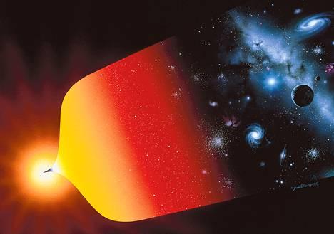 Avaruus alkoi yhdestä pisteestä. Ensin se laajeni valtavan nopeasti. Sitten laajeneminen hidastui, maailmankaikkeus jäähtyi, ja avaruus muuttui läpinäkyväksi.