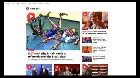 The Independent tarjoili Final Say -kampanjansa (Viimeinen sana) näkyvästi usean pääkirjoitusta tukevan artikkelin ja mielipidekirjoituksen kera. Kuvakaappaus The Independentin verkkosivuilta.