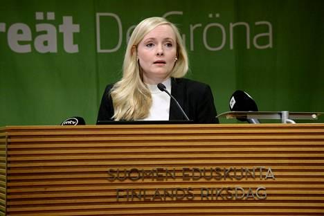 Sisäministeri Maria Ohisalo puhui vihreiden puoluevaltuuskunnan kokouksessa Helsingissä lauantaina aamupäivällä.