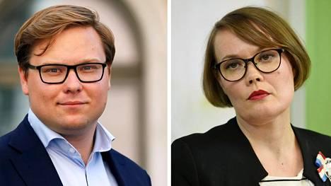 Helsingin suurimmat valtuustoryhmät ovat kokoomus ja vihreät. Kuvassa ryhmänjohtajat Daniel Sazonov (kok) ja Kaisa Hernberg (vihr).