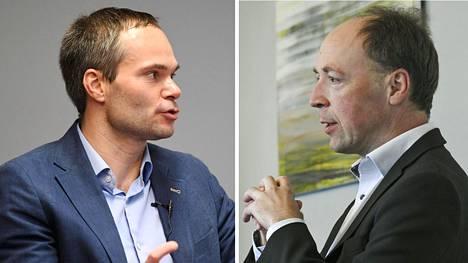 Kokoomuksen eduskuntaryhmän puheenjohtaja Kai Mykkänen (vas.) ja perussuomalaisten puheenjohtaja Jussi Halla-aho.