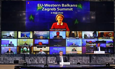 Kroatian pääministeri Andrej Plenković johti puhetta koronaviruspandemian vuoksi videoneuvotteluna järjestetyssä EU:n ja Länsi-Balkanin maiden huippukokouksessa.