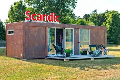 Scandicin esittelemä liikuteltava hotellihuone on rakennettu konttiin.