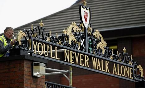 Stadionin portti Liverpoolissa.