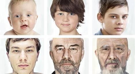 Vanhenemista voi hidastaa, mutta ei estää. Kuvasarja on rakenneltu tietokoneella kuvitteellisesta henkilöstä.