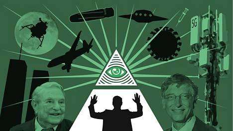Salaliittoteoriat ovat nousseet tänä vuonna isoksi ilmiöksi. Salaliittoteoreetikot uskovat muun muassa, että miljardööreillä George Sorosilla ja Bill Gatesilla on rooli koronaepidemian puhkeamisessa.
